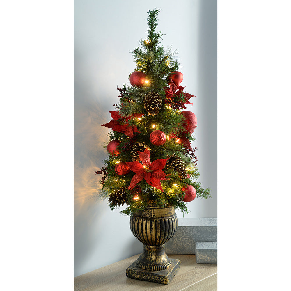 Pre-Lit Potted Christmas Tree with 50 Warm White LED Lights - Red