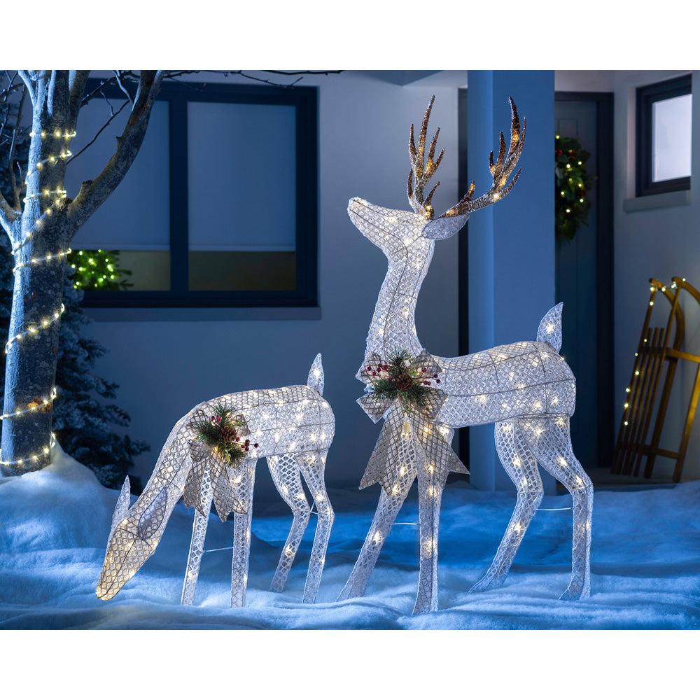 Christmas Reindeer Family Decoration, 160 Warm White LED Lights, 3D, 151 cm
