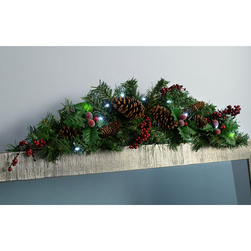 90 cm Natural Pine Cone and Berry Decorated Pre-Lit Arch Garland Christmas Decoration Illuminated with 20 Cool White LED Lights