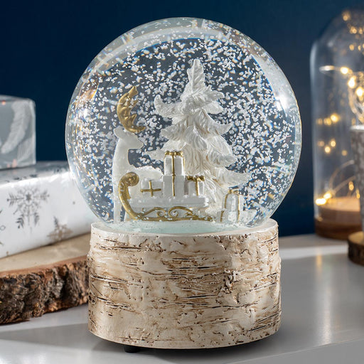 Reindeer & Sleigh Musical Snowglobe Christmas Decoration 15 cm