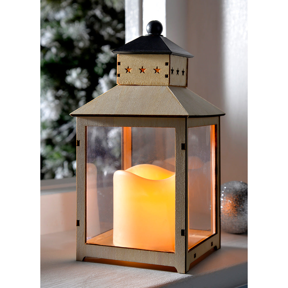 Pre-Lit Wooden Lantern with Flickering LED Candle Christmas Decoration, 21.5 cm