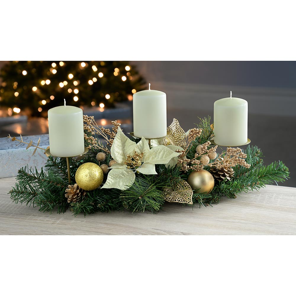 Decorated Table Centre Piece Candle Holder - Cream/ Gold