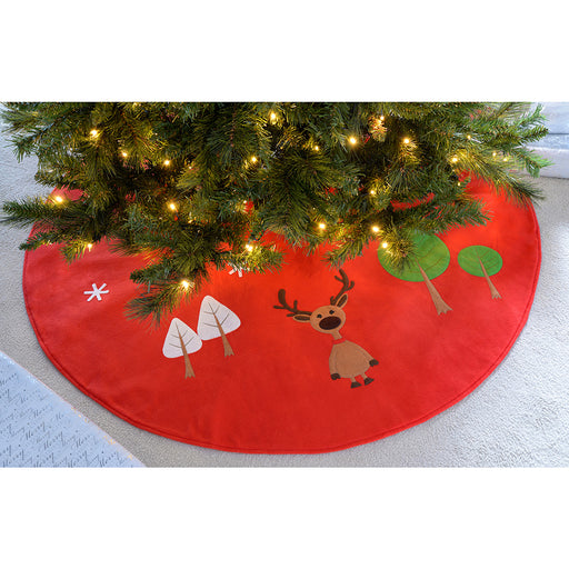 Reindeer Christmas Tree Skirt Decoration, 120 cm -Red