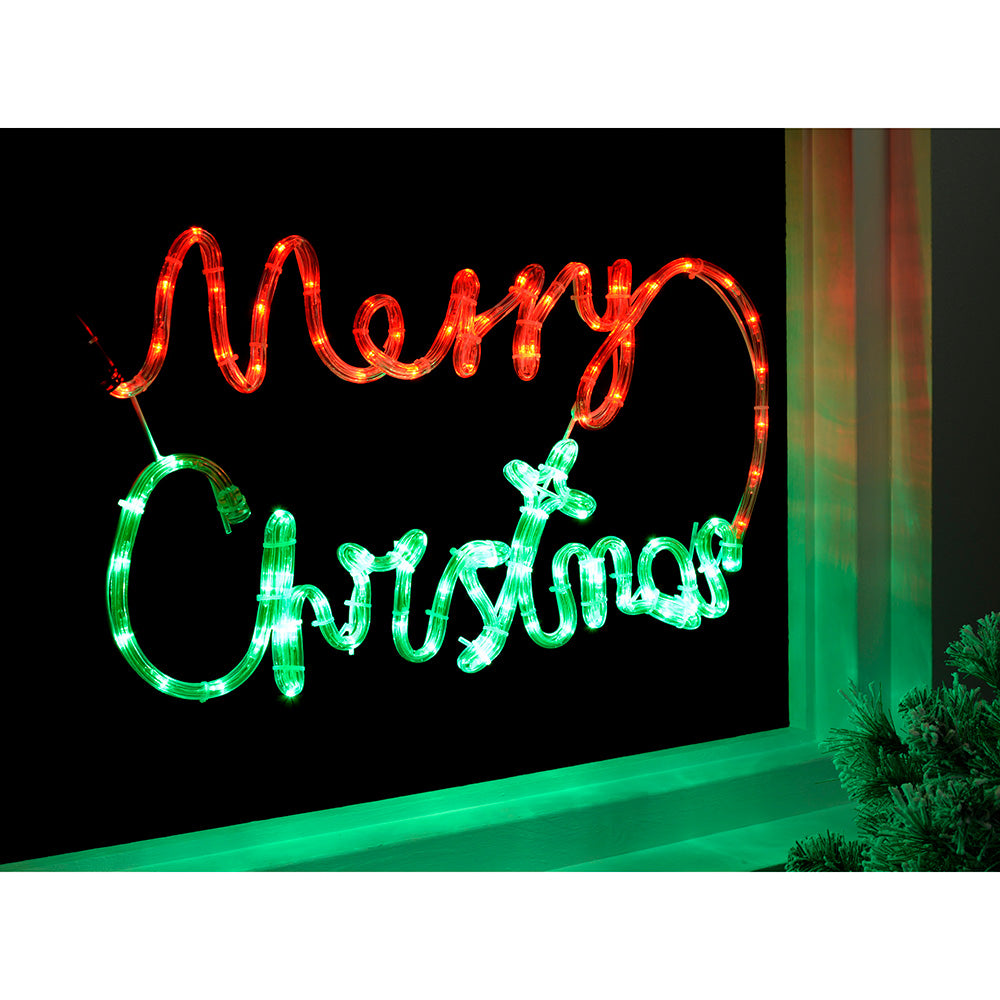 Pre-Lit LED Merry Christmas Rope Light Silhouette, 55 cm - Multi-Colour (Red and Green)
