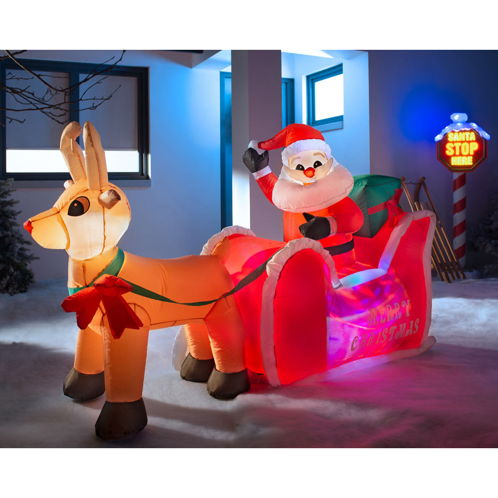 Pre-Lit Animated Inflatable Santa with Sleigh  6 ft / 1.8 m