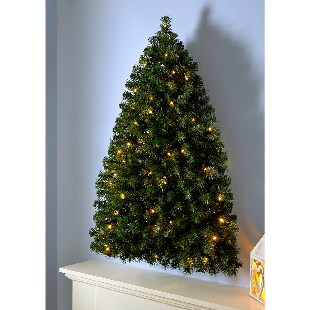 Pre-Lit Green Wall Mounted Christmas Tree with Warm White LED Lights
