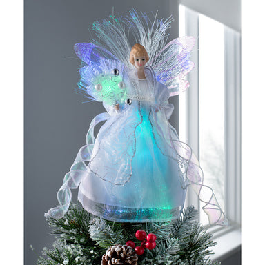 Fiber Optic Angel Christmas Tree Topper with Glowing Wings Multi-Colour LED Lights, 30cm