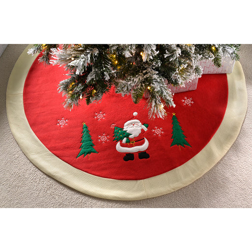 Waving Santa Traditional Christmas Tree Skirt Decoration, 107 cm -Red