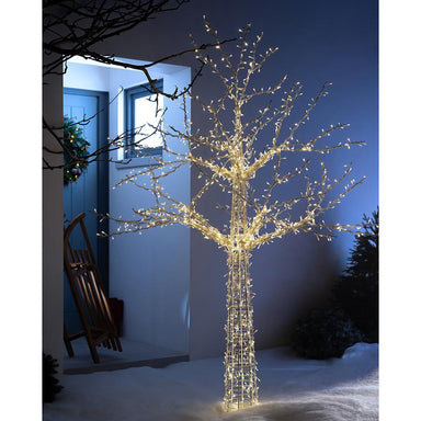 Pre-Lit Wire Frame Outdoor Tree 1600 Warm White LEDs 7 ft / 2.1 m