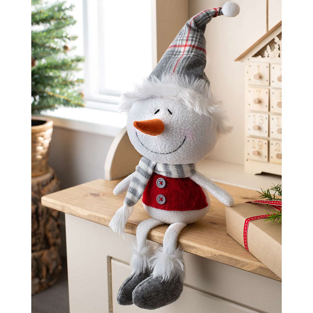 Sitting Christmas Snowman Figurine, Red and Grey, 33 cm