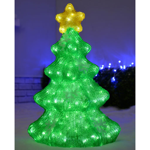 Pre-Lit Acrylic Christmas Tree with 200 White LED Lights Display Decoration, 2 ft/ 60 cm