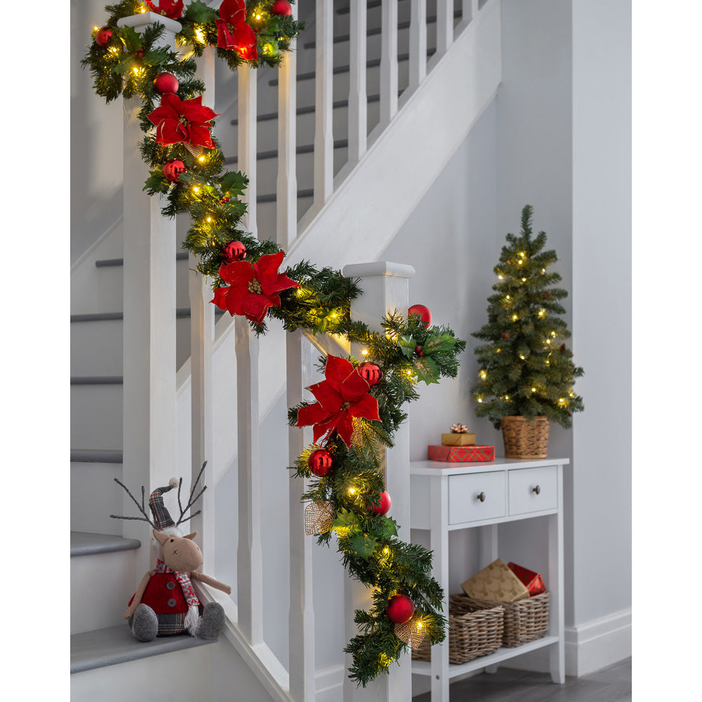 Decorated Pre-Lit Multi-Function Garland with 40 Warm White LED Lights, Red/Gold, 9 ft