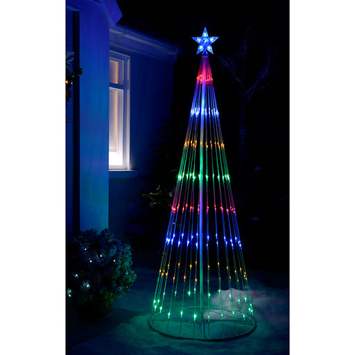 Pre-Lit LED Animated Flashing Pop-Up Christmas Tree, 190 cm - Multi-Colour