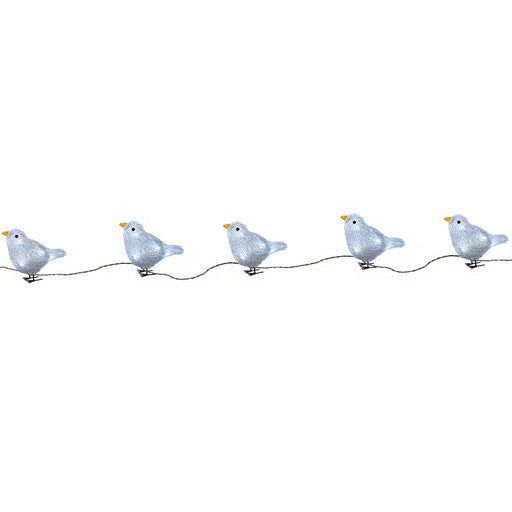 LED Bird Lights Christmas Decoration, 15 cm - White, Set of 5