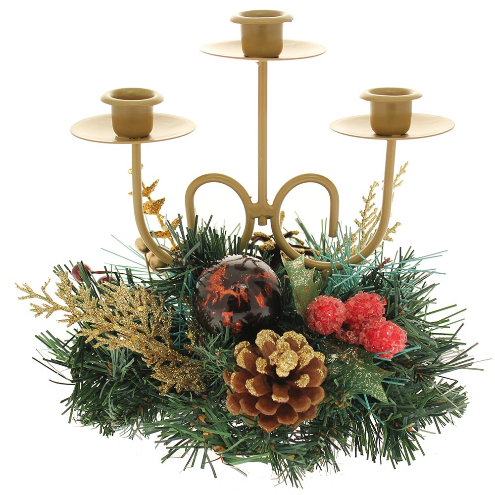 Decorated Table Centre Piece Candle Holder - Red/ Gold