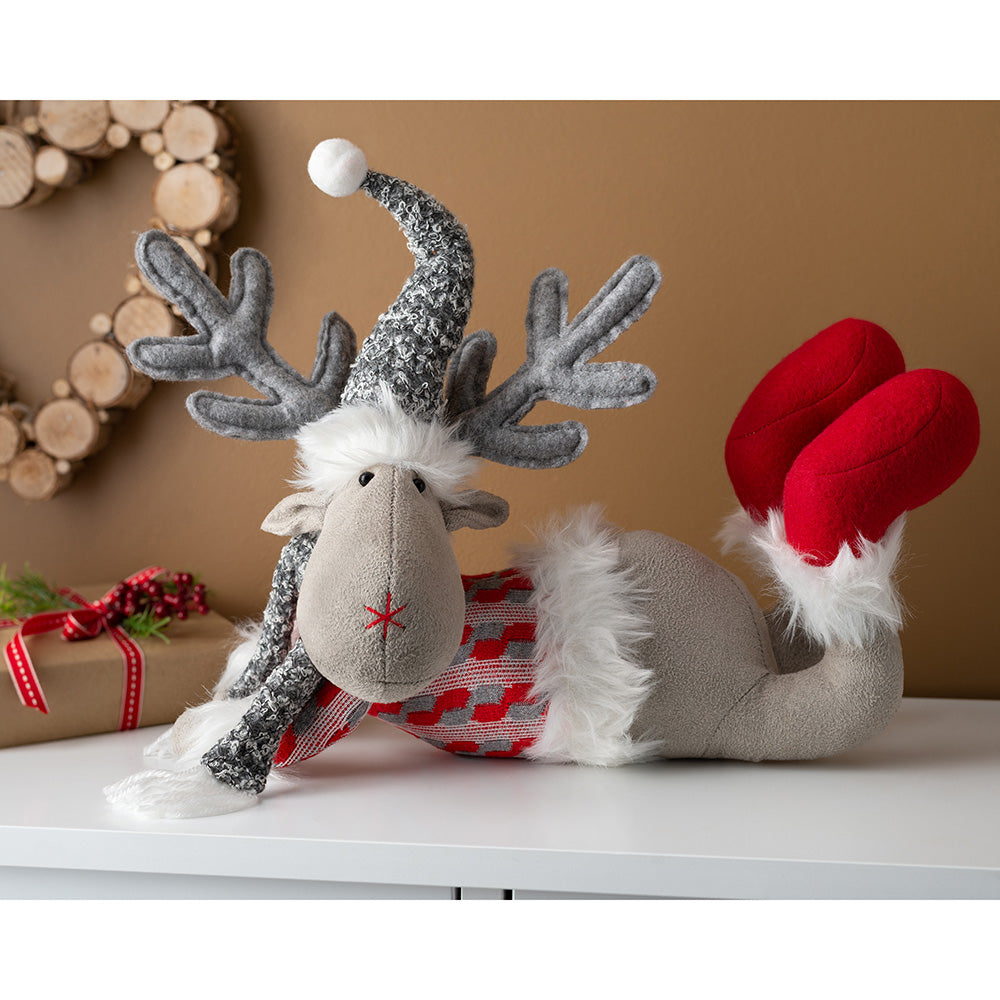 Lying Down Christmas Reindeer Figurine 32 cm