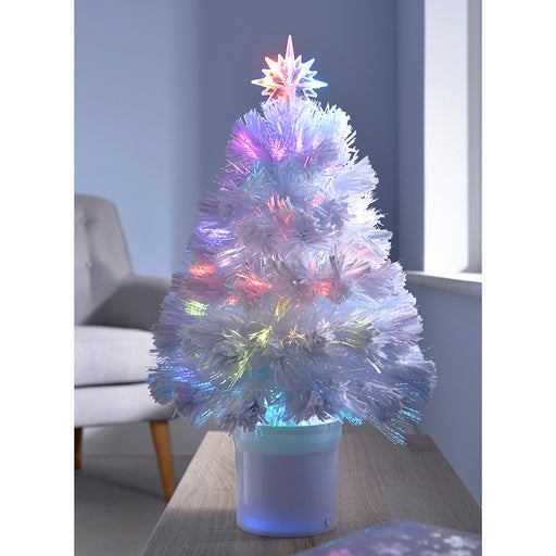 Pre-Lit Fibre Optic Christmas Tree with Bluetooth Compatibility 2 ft/60 cm - White