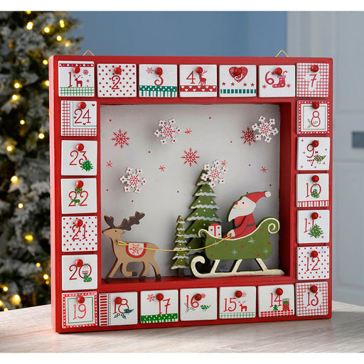 Wooden Window Advent Calendar Christmas Decoration, 28 cm - Multi-Colour