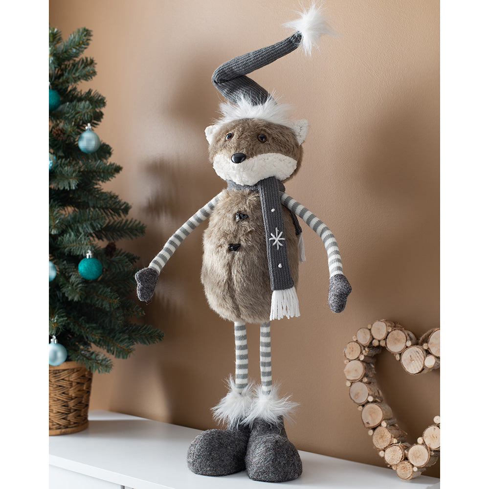 Standing Christmas Fox Figurine, Grey and White, 55 cm