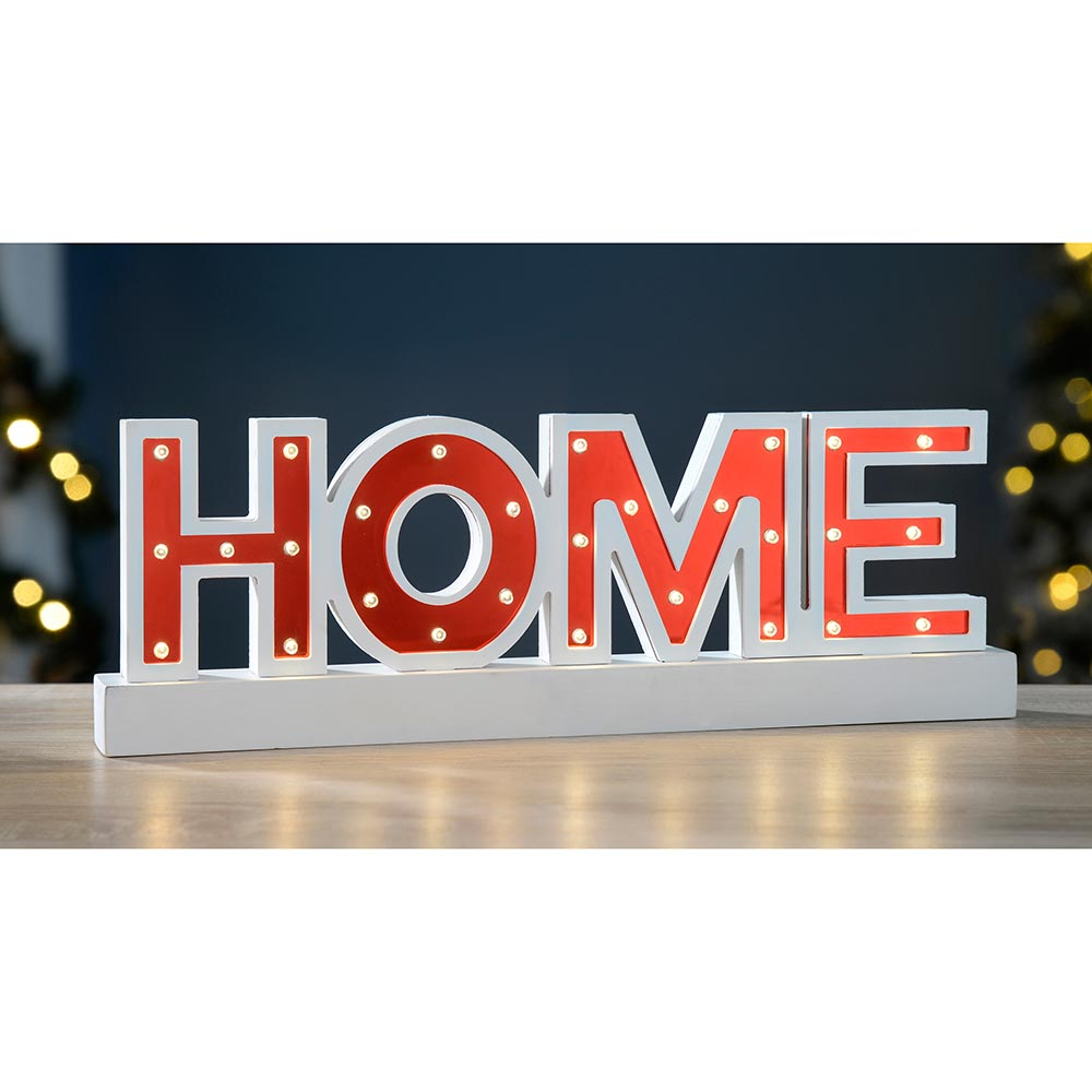 Pre-Lit Sign with Base Christmas Decoration, Wood, 38 cm - Red