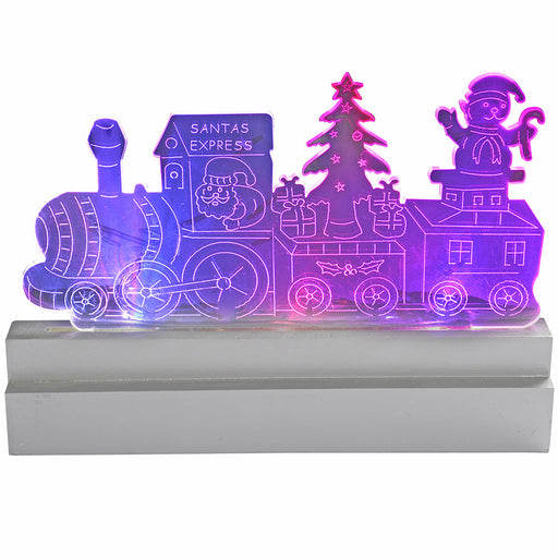 23 cm Pre-Lit Santa Express Train Acrylic Table and Window Christmas Decoration with Colour Changing LED Lights