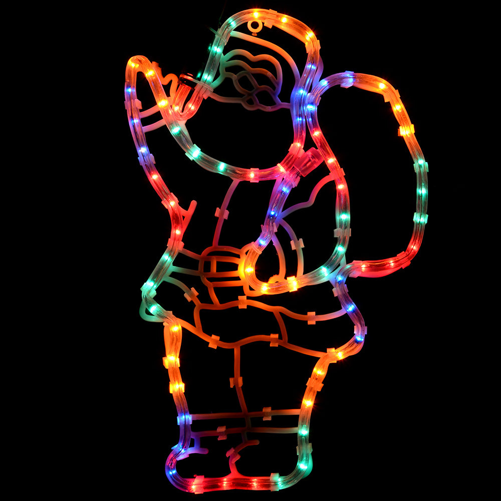 Santa Rope Lights Silhouette Christmas Decoration, 41 cm - Large, Multi-Colour
