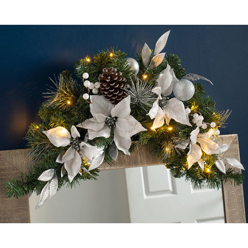 Pre-Lit Decorated Arch Garland with 20 Warm LED Lights 92 cm / 36 inch