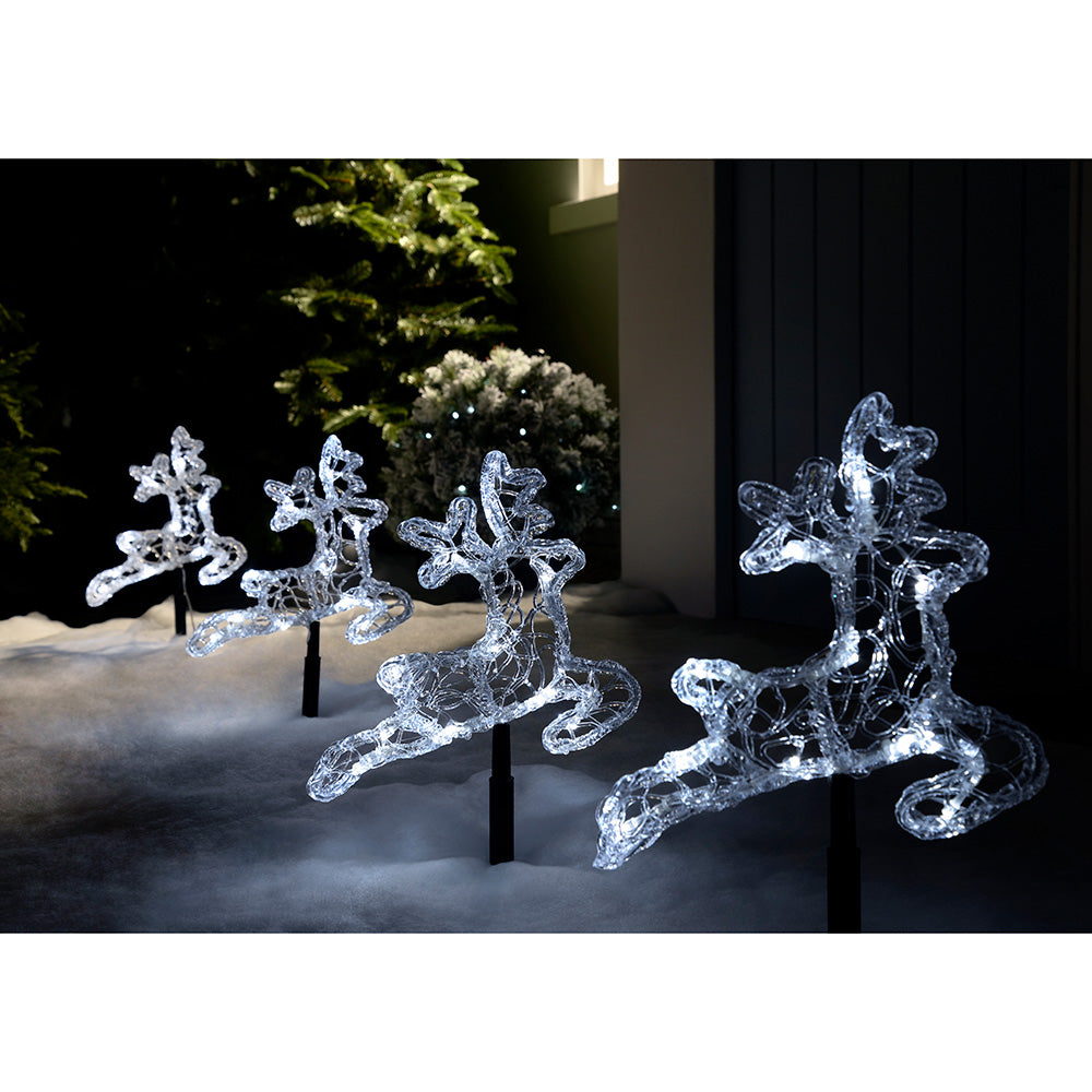 Pre-Lit LED Acrylic Reindeer Garden Pathway Lights -White, Set of 4