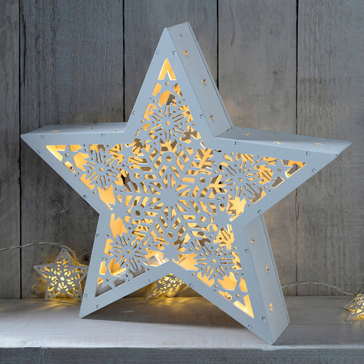 Pre-Lit Hanging Star Christmas Decoration, Wood, 28.5 cm - White