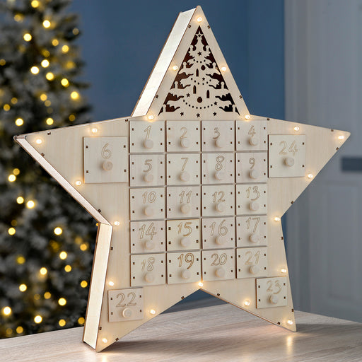 Pre-Lit Wooden Star Advent Calendar Christmas Decoration, 43 cm - White