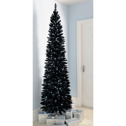 Pre-Lit Black Pencil Christmas Tree with 180 LED Lights, 6.5 ft/1.95 m