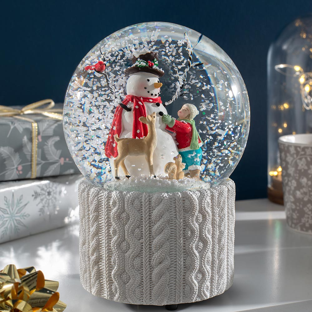 Snowman Musical Snowglobe Christmas Decoration 17 cm