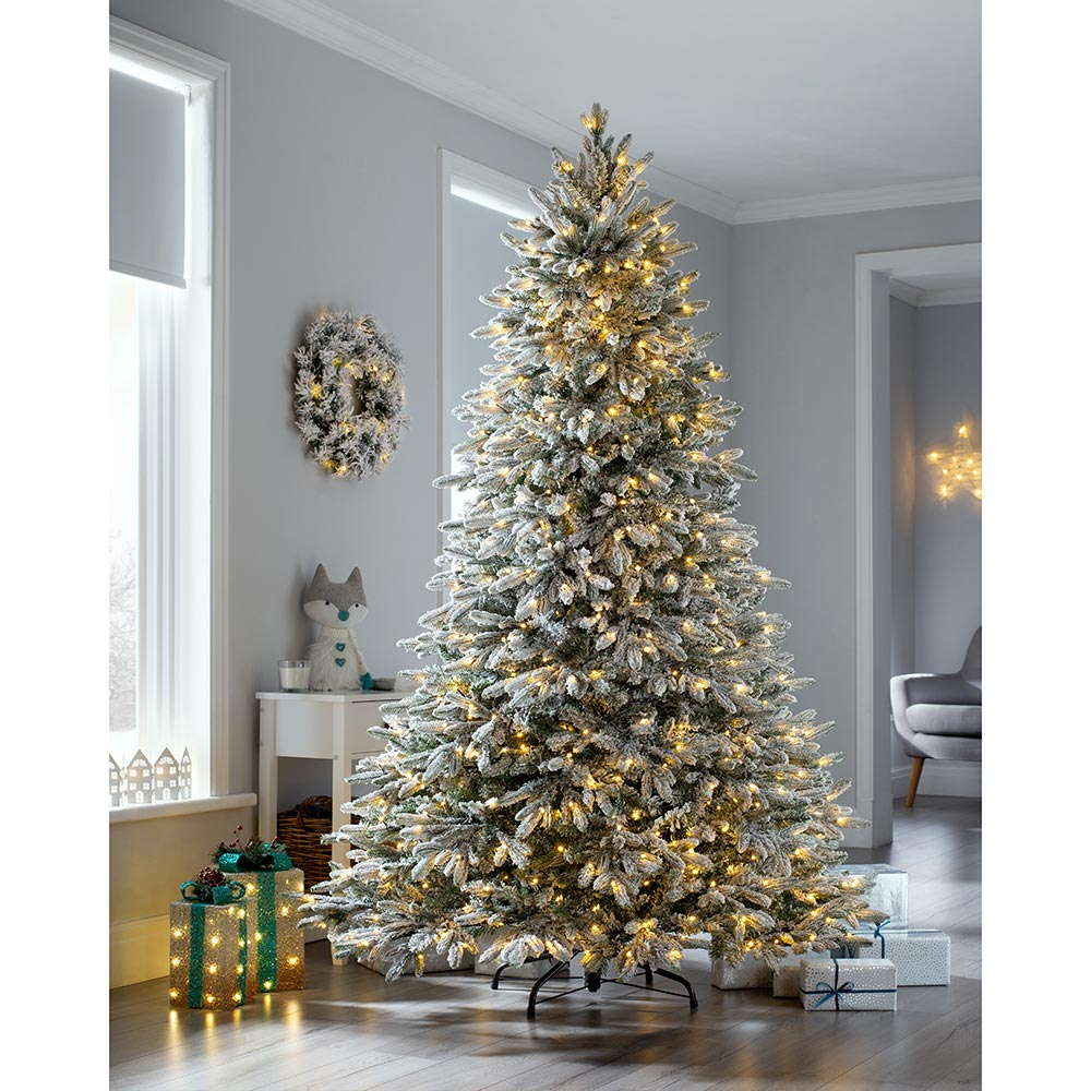 Pre-Lit Frosted Snow Christmas Tree with Chasing Warm LED Lights