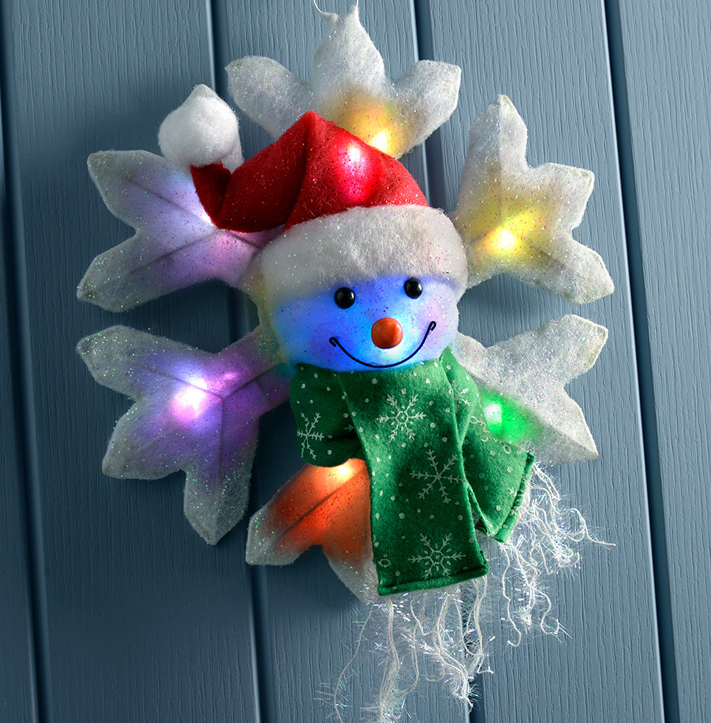 Colour Changing Snowman Snowflake Illuminated with 8 LED Lights, 32 cm - Large