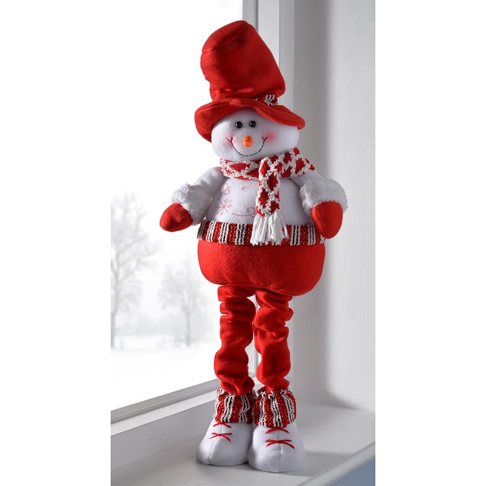 Free Standing Christmas Decoration with Extendable Legs, - Red/White