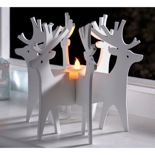 Reindeer Candle Holder and Tea Light Christmas Decoration, Wood, 19 cm