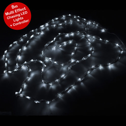 Multi-Effect Chasing Garland LED Lights String with Controller and 8 m Cable, White