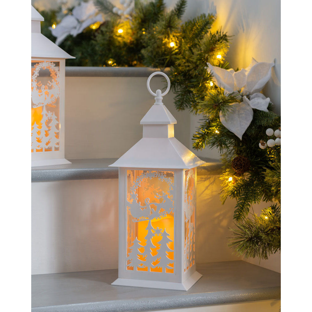 Pre-Lit Christmas Lantern with Warm White LED Candle, White, 40 cm