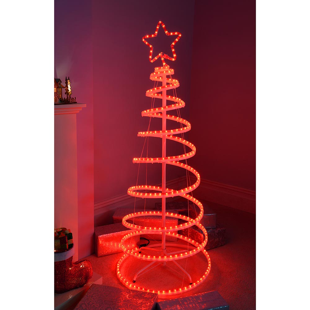 5ft 150 cm Flashing 3D Spiral Christmas Tree Rope Light Silhouette