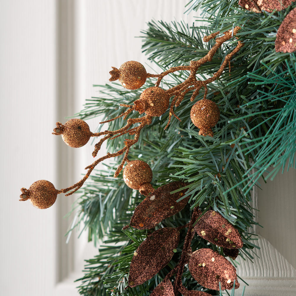 Pre-Decorated Wreath, Copper and Gold, 50 cm