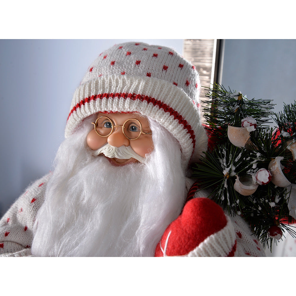 Standing Santa with Knitted Outfit Christmas Decoration, 47 cm - Red/White