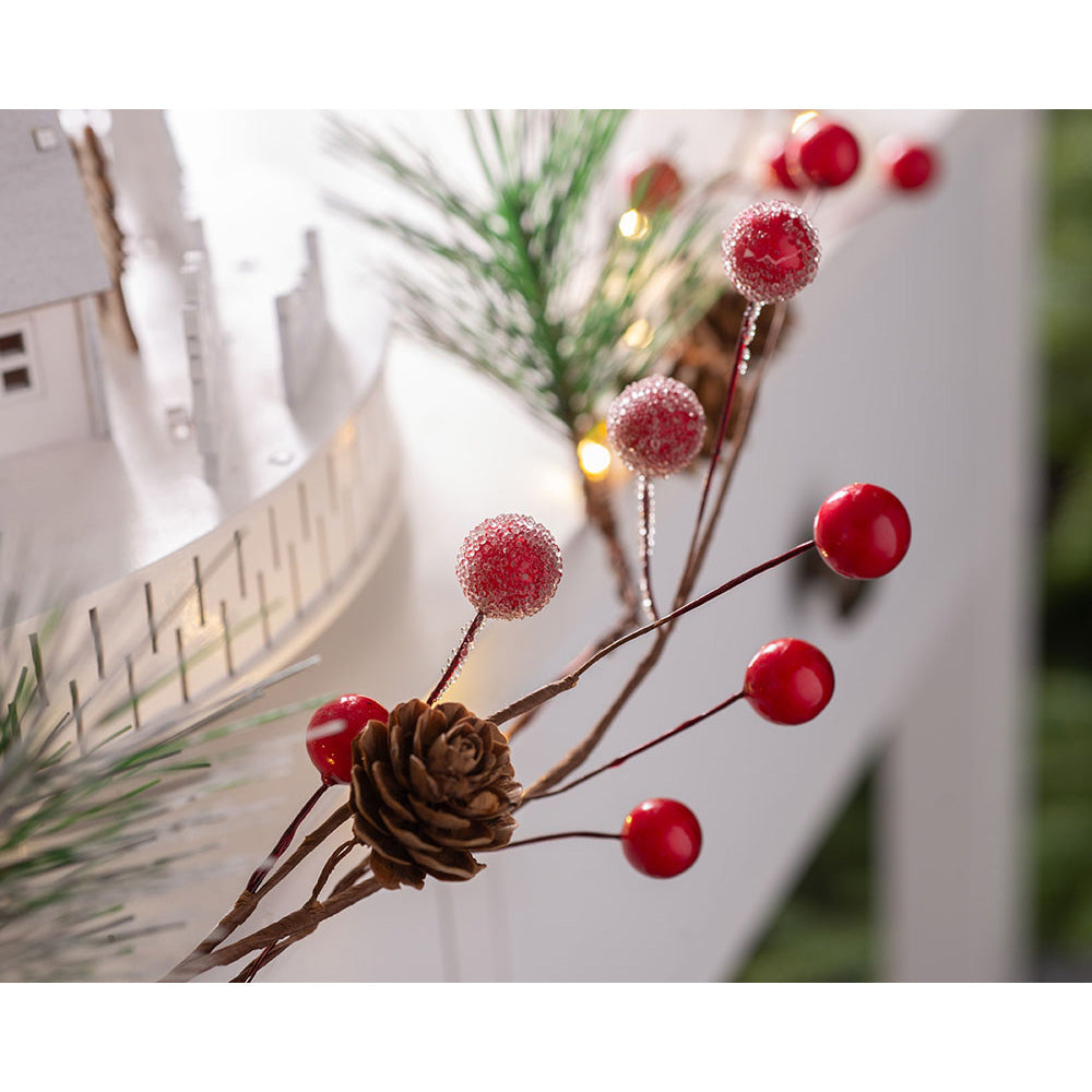 Christmas Pinecone and Red Berries Light String Decoration, 20 Warm White LED Lights, 1.8 m