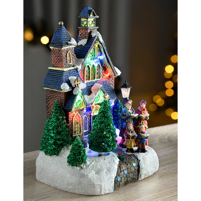Christmas Carol Singers Decorations.25 Cm Standing Scene With Carol Singers Colourful Led Lights Decoration