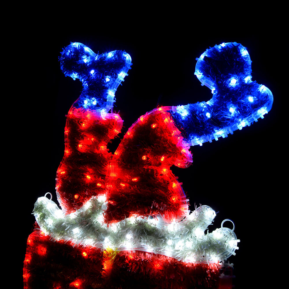 Santa Stuck in the Chimney Flashing LED Rope Light Silhouette, 90 cm - Large, Multi-Colour