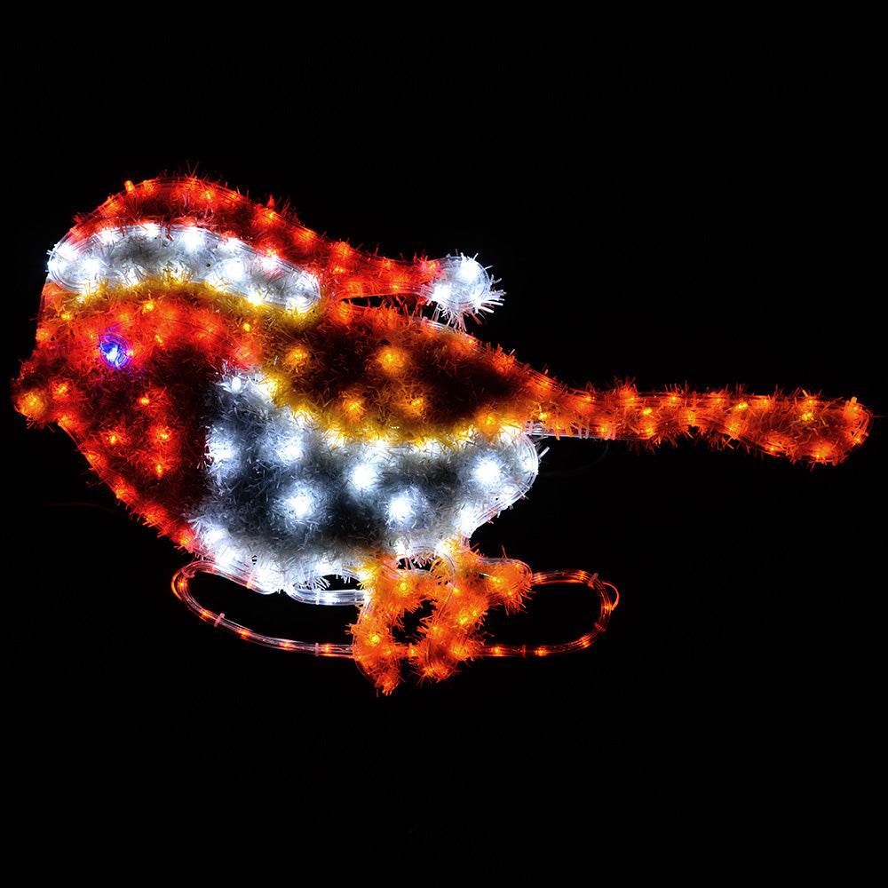 79 cm Large Robin LED Rope Lights and Tinsel Silhouette Outdoor Garden Wall Christmas Decoration