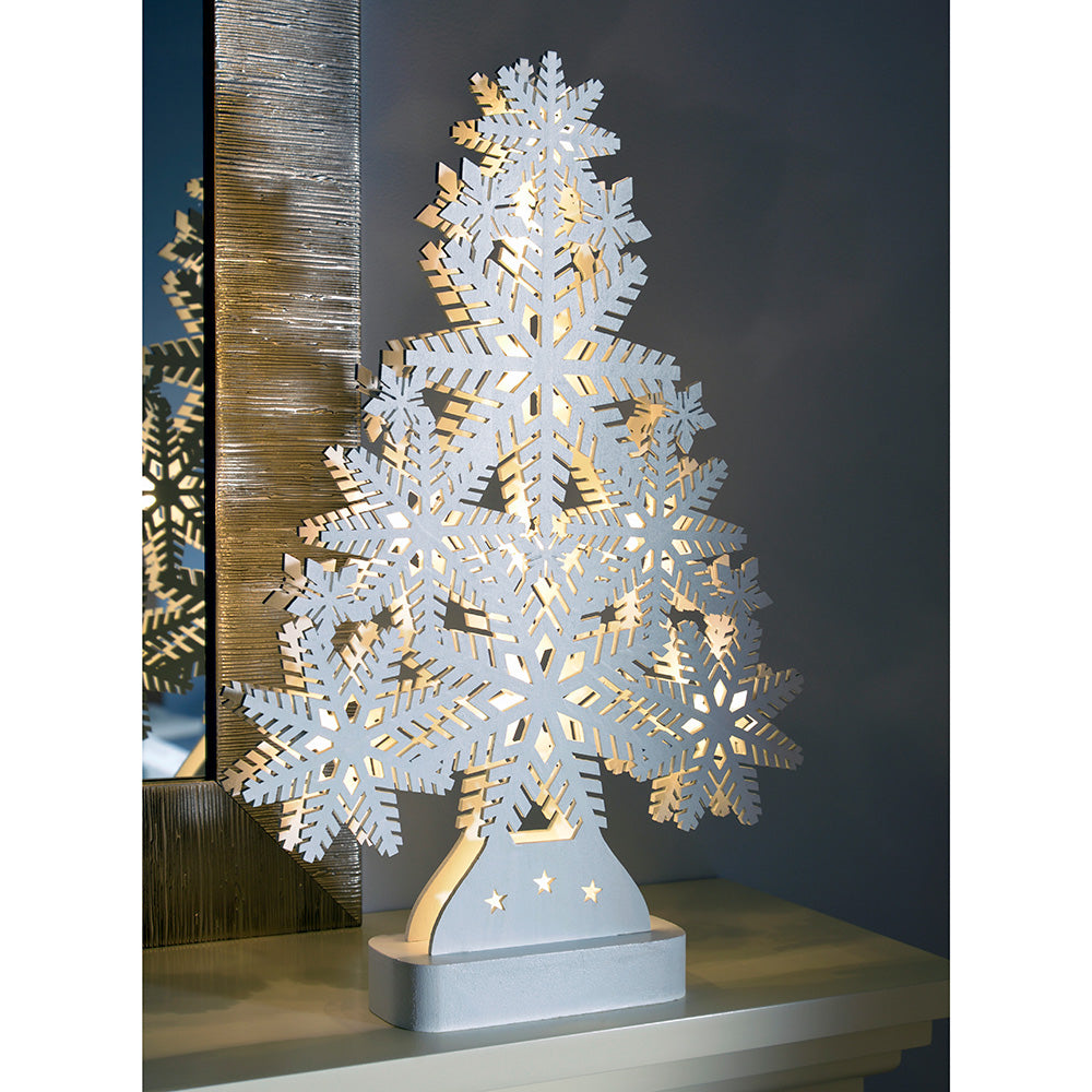 Pre-Lit Snowflake Tree Table Christmas Decoration, Wood, 39.5 cm - White