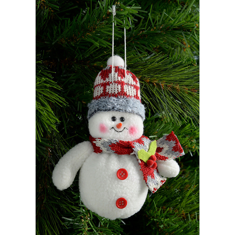 Hanging Santa and Snowman Christmas Decoration, 15 cm - Red/White, Set of 6
