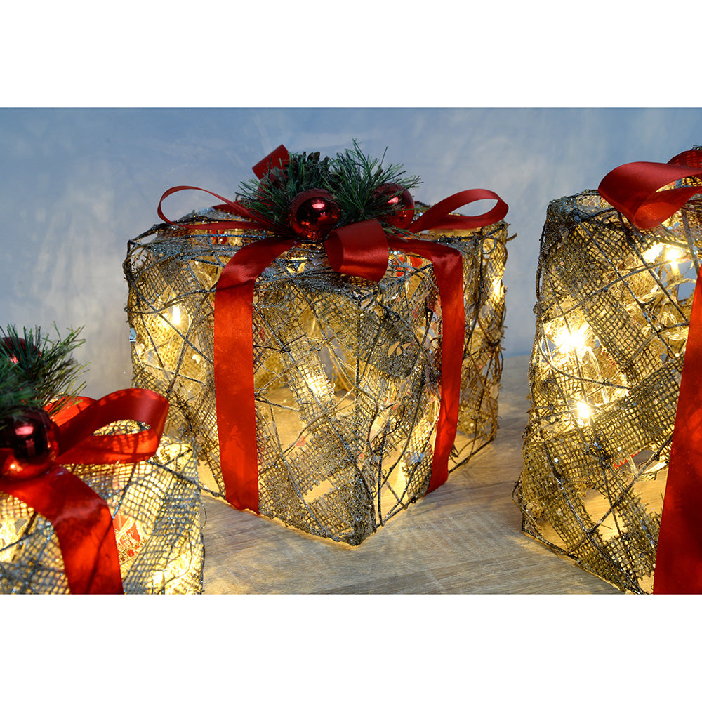 Pre-Lit Sisal and Rattan Warm White LED Present with Red Ribbon - 25/20/15cm - Set of 3
