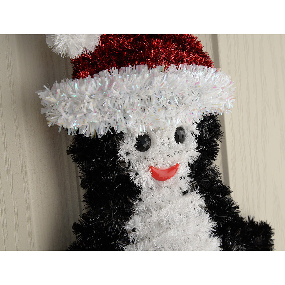 Snowman and Penguin Tinsel Hanging Wall Christmas Decoration, 30 cm - Pack of 2
