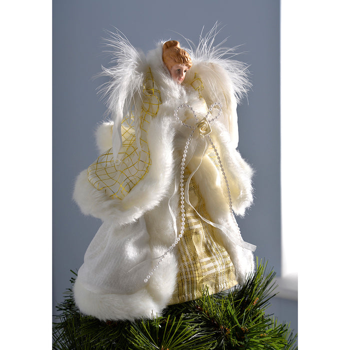 Christmas Tree Topper.Angel Christmas Tree Topper With Feather Wings 26 Cm Cream Gold